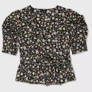 NWT A new day bishop floral blouse top with belt